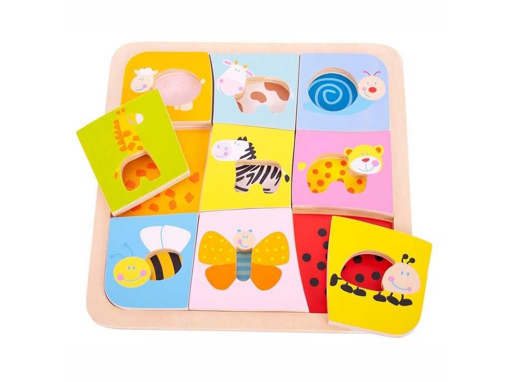 Bigjigs Toys Dřevěné vkládací puzzle 9 zvířátek