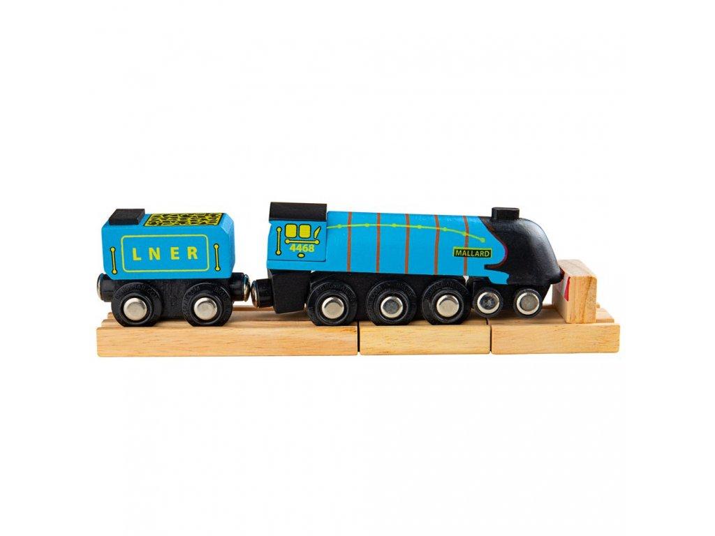 Bigjigs Rail Dřevěná replika lokomotivy Mallard + 3 koleje