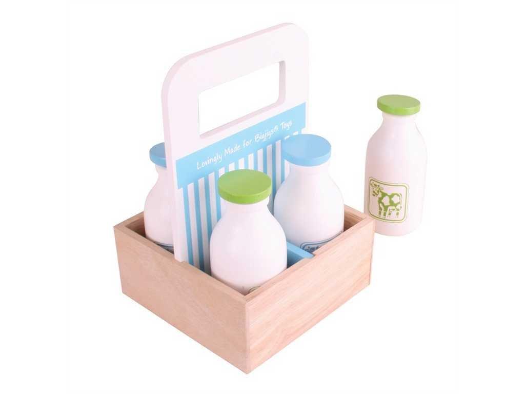 Bigjigs Toys Dřevěné mléko v přenosné krabičce