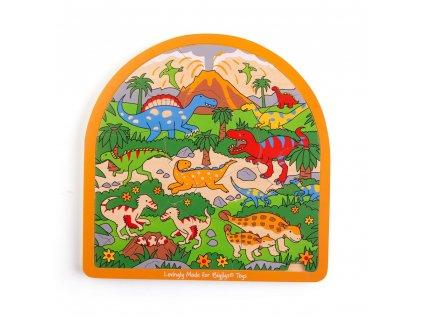 Bigjigs Toys Dřevěné vícevrstvé puzzle Dinosauři