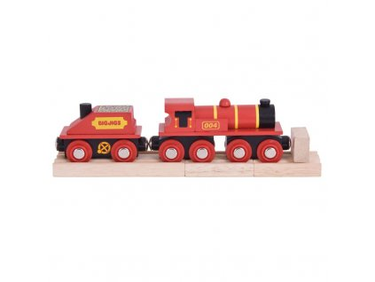 Bigjigs Rail Červená lokomotiva s tendrem + 3 koleje