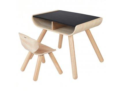 PlanToys Dětský stolek se židlí černý