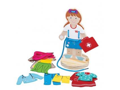 Bigjigs Toys Dřevěné provlékání oblékací holčička