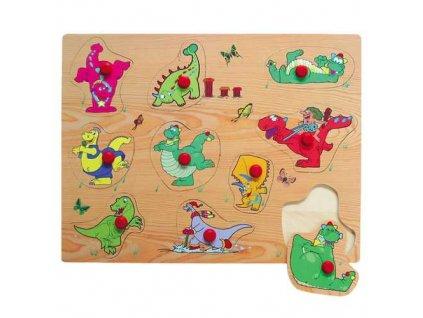 Dřevěné vkládací puzzle dinosauři B