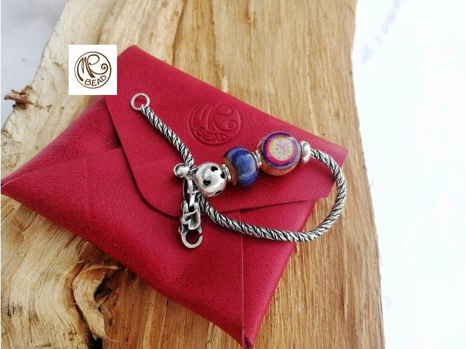 Psaníčko - kožená kapsička Červená
