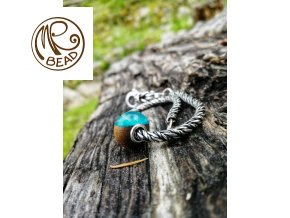 Dřevěný korálek - Teak&pryskyřice