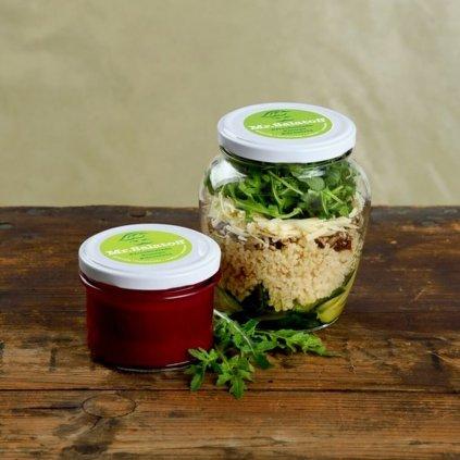 M1 Cuketový salat s bulgurem, Krem z červené čočky a řepy