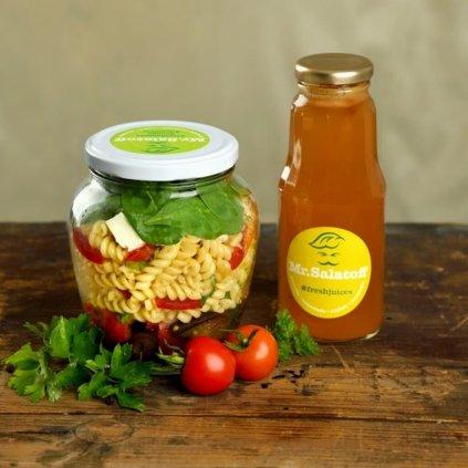 M1 Těstovinový salát s pečeným lilkem a paprikou, Melounový fresh