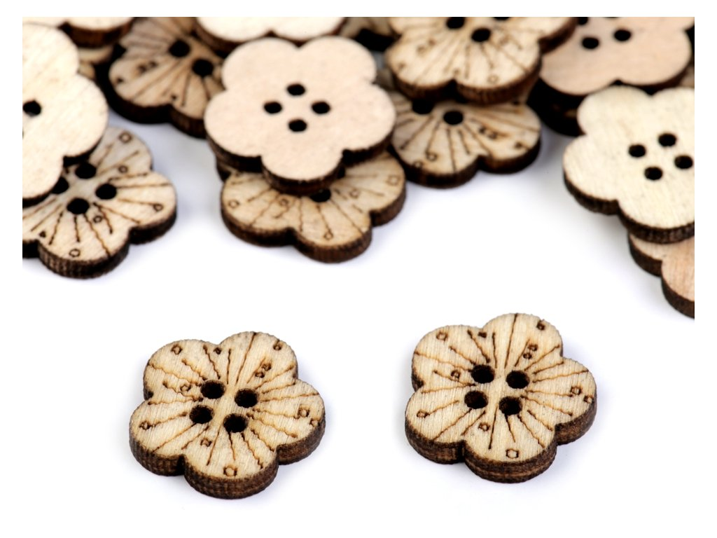 Drevený gombík kvet Ø17,3mm