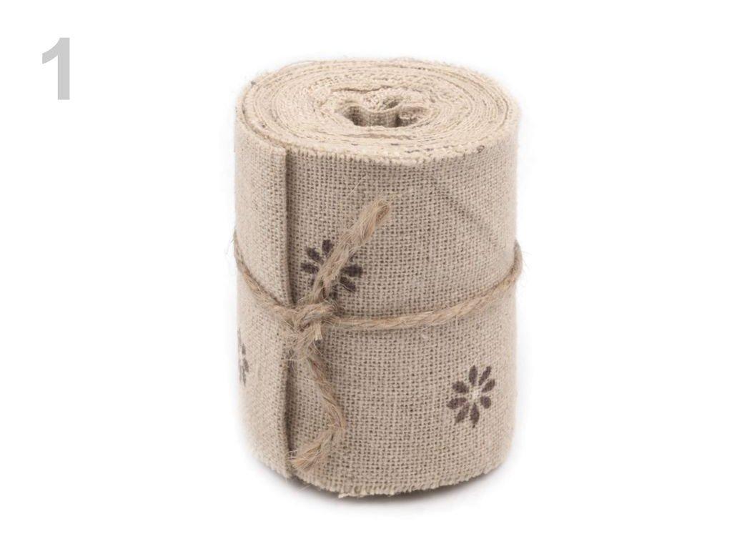 Bavlnená stuha šírka 60 mm s potlačou - návin 3m