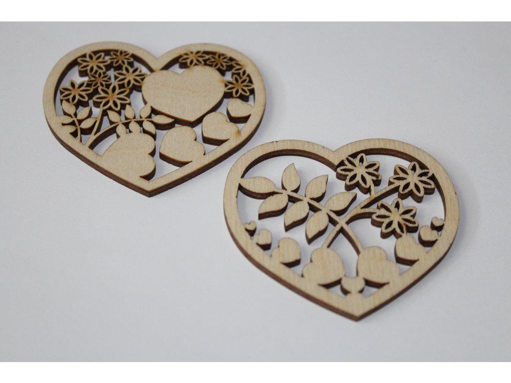 Drevené srdce s výrezom 6,5cm
