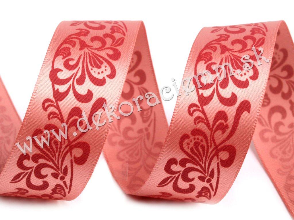 Stuha saténová s kvetinovým ornamentom 25mm/1m