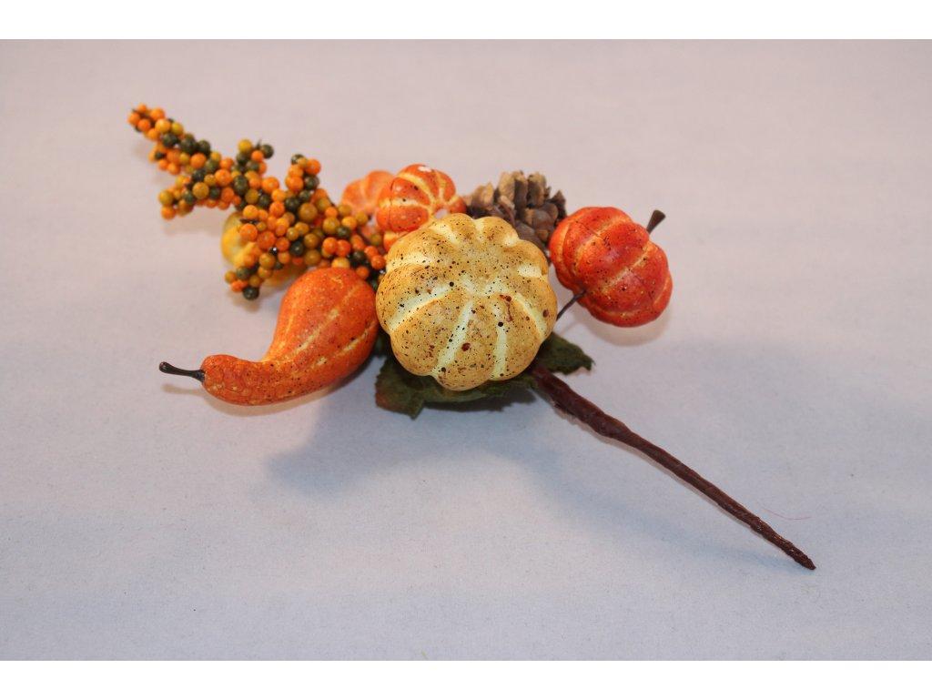 Jesenná vetvička tekvice+šiška 18cm