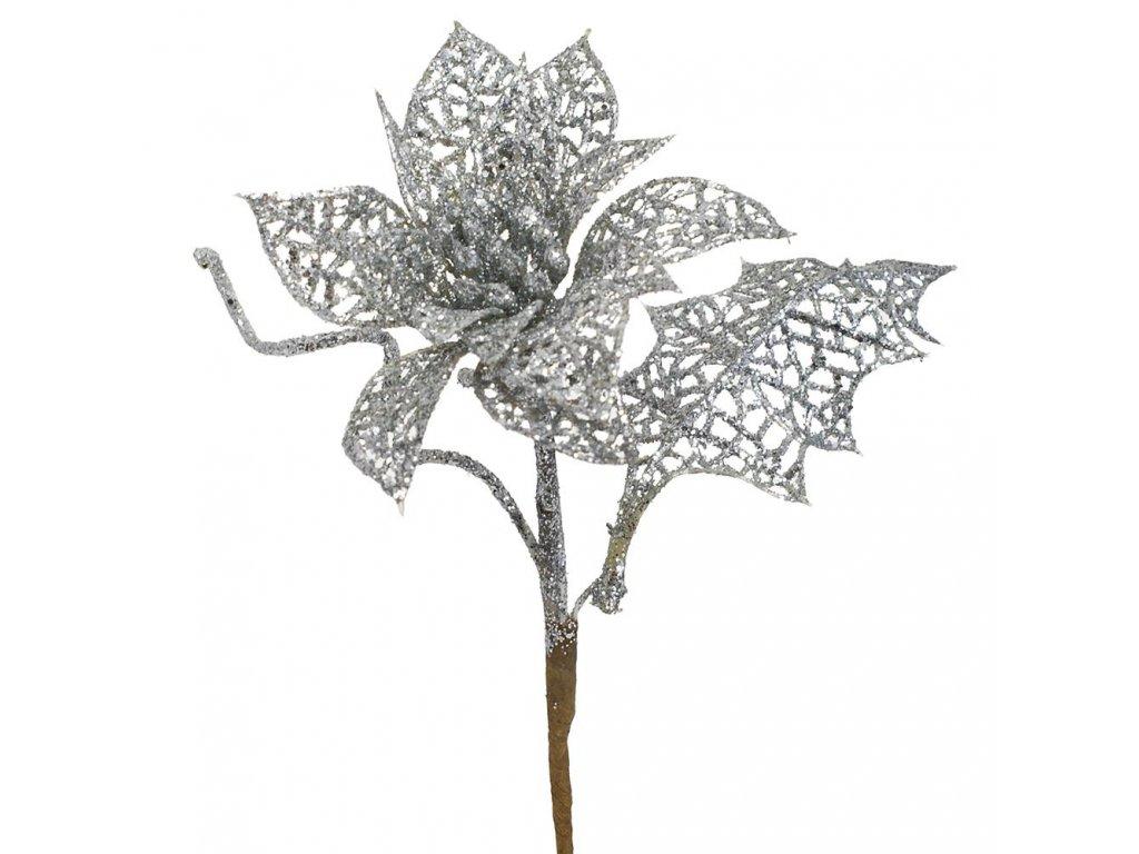 Poinsettia brokát zdobená str. 24cm