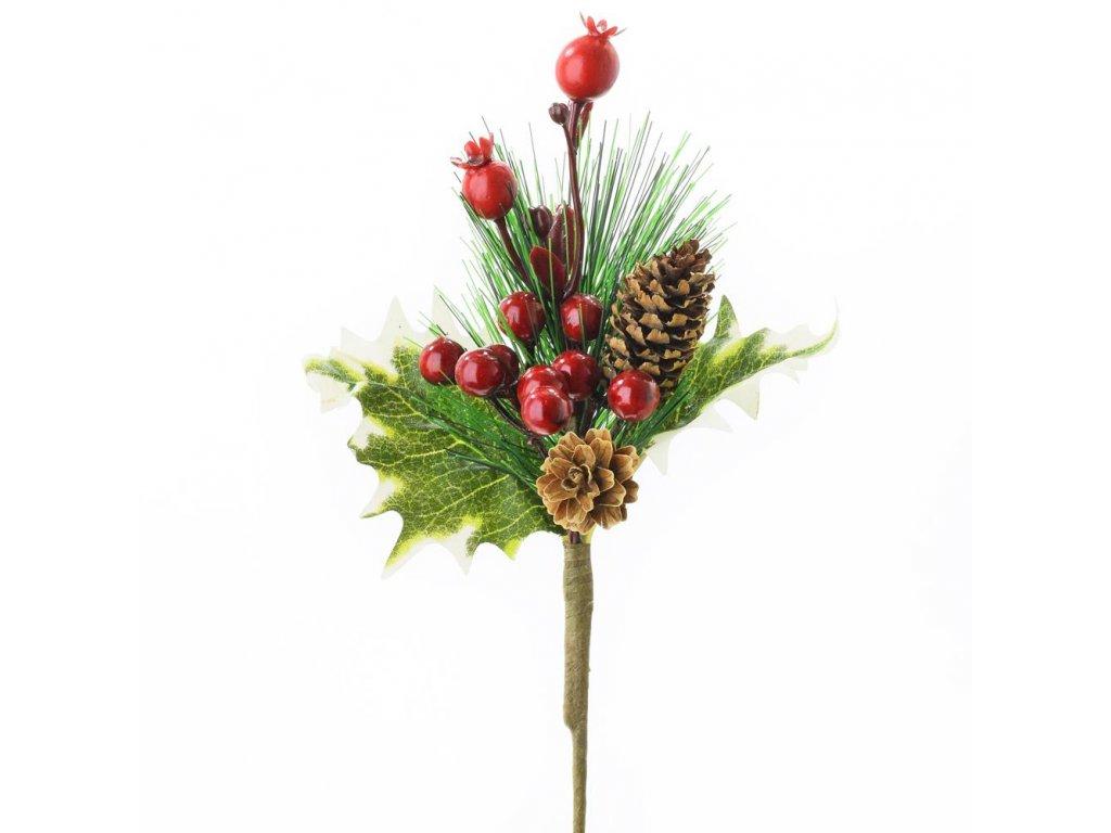 Vetvička čečina s červenými plodmi a šiškami 20cm