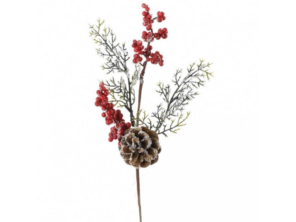 Zasnežená vetvička šiška a červené bobuľky23x15cm