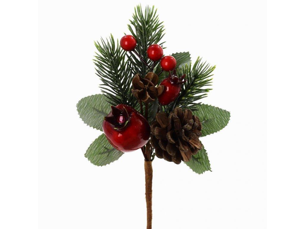 Zápich čečina a červené plody so šiškou 16cm