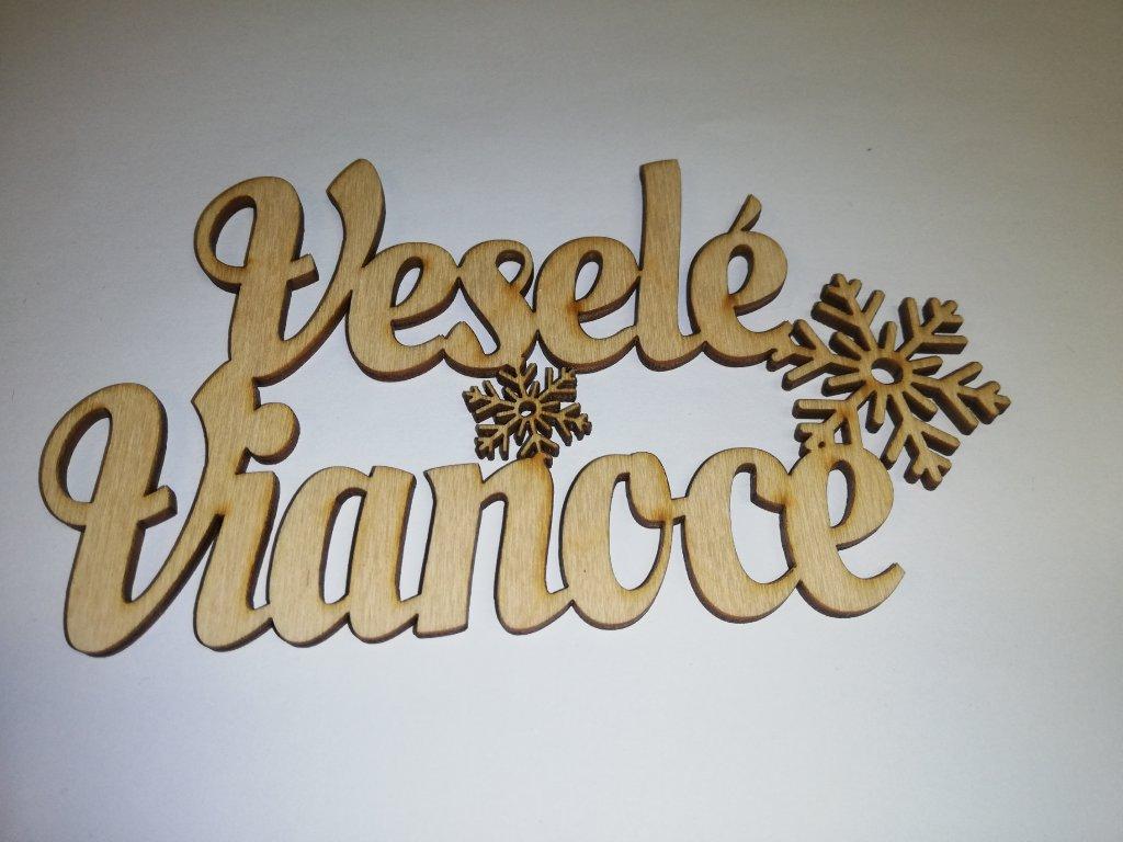 Drevený nápis Veselé Vianoce vločky 13cm