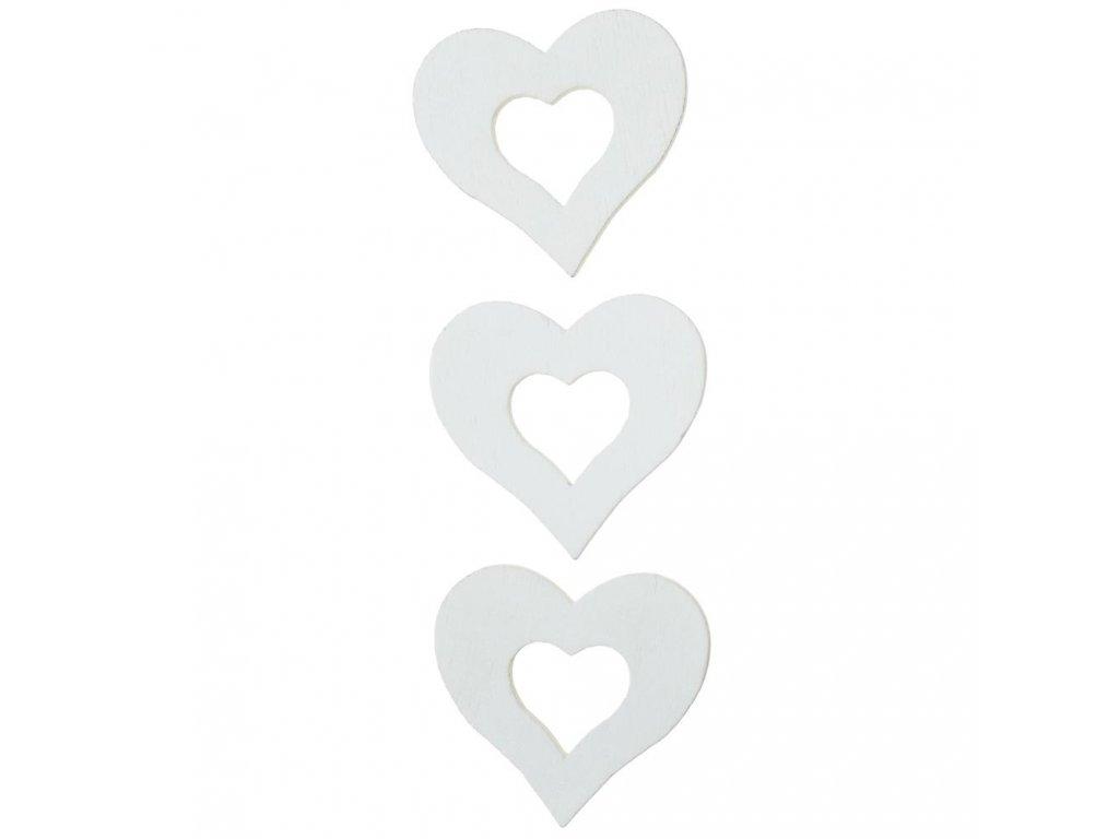 Drevená dekorácia biele srdce3x3cm