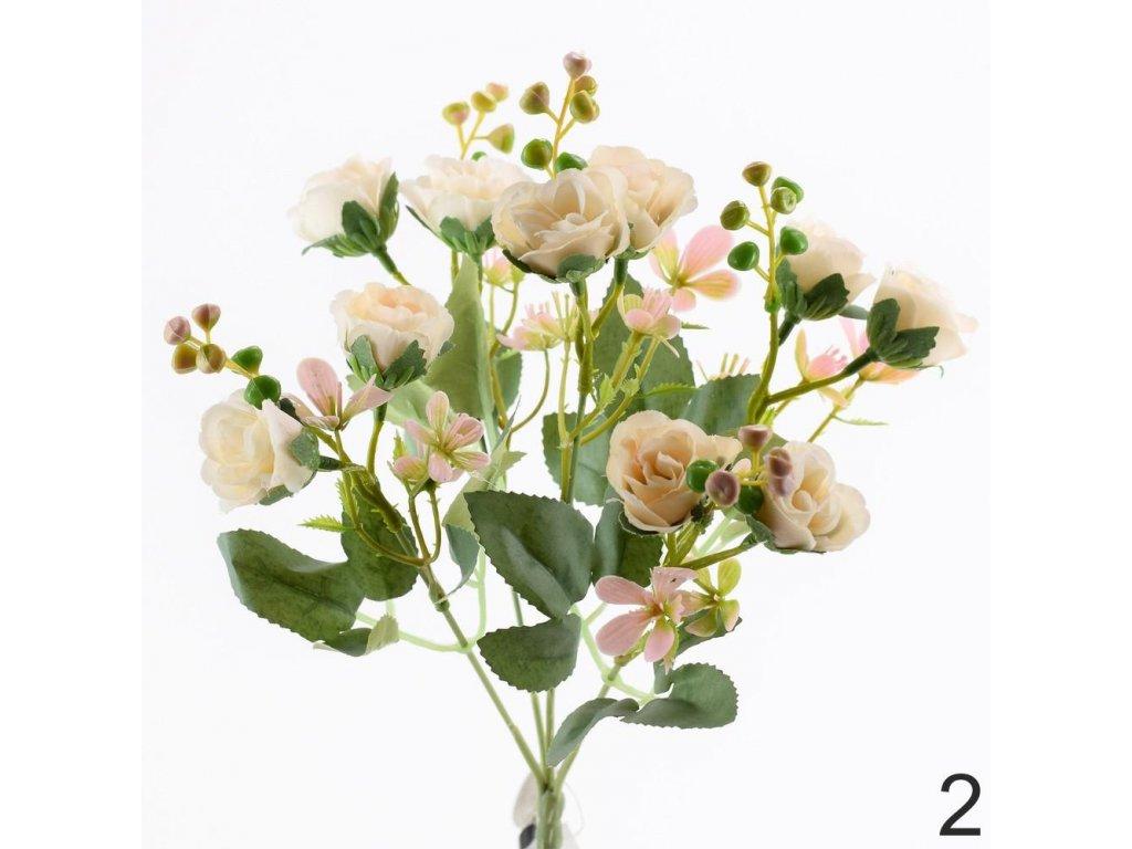 Mini kytica ruža+zeleň 25cm