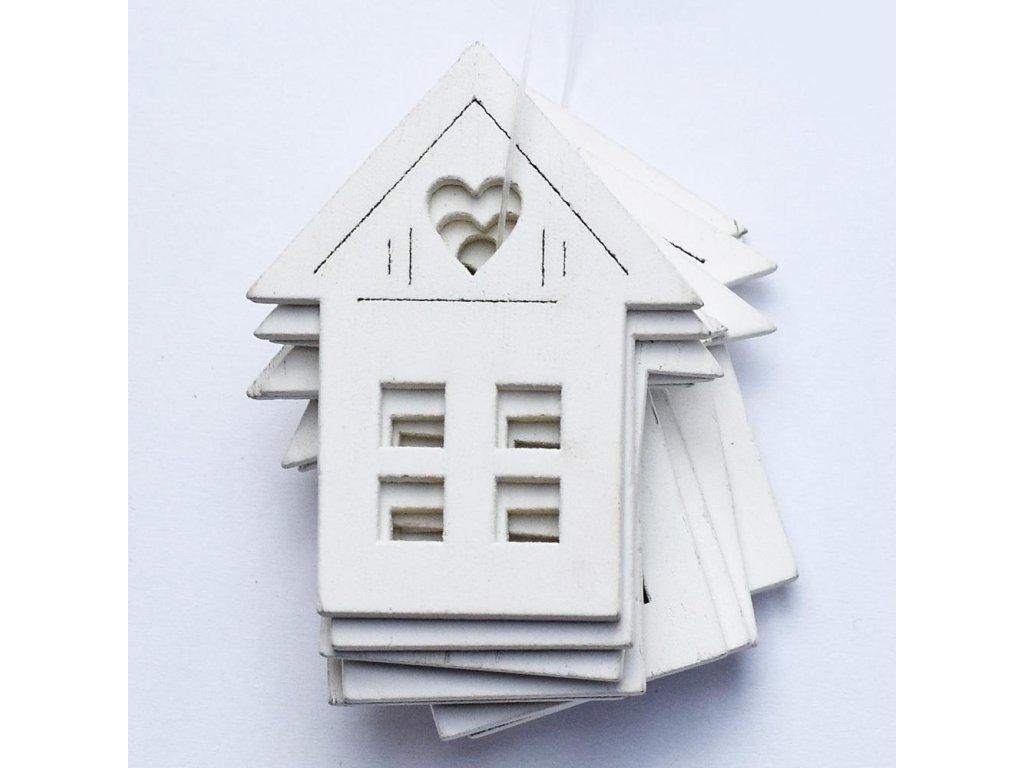 Drevený domček biely 5cm
