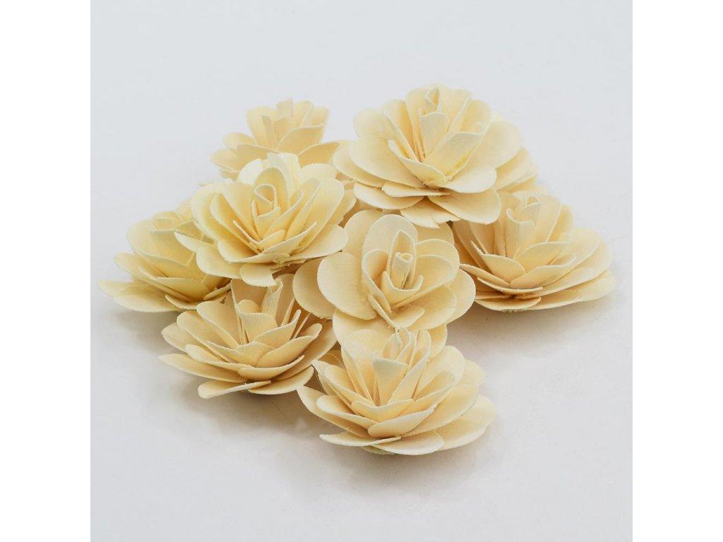 Drevená ruža bielená 6cm