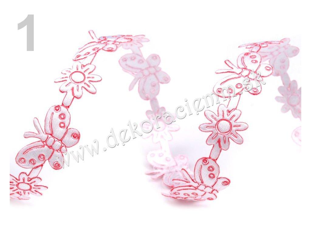 Prámik saténový s motýlkami a kvetinami šírka 13mm/1m