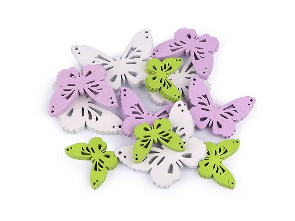 Sada - drevená dekorácia srdce, motýľ, kvet, vtáčik, vajíčka