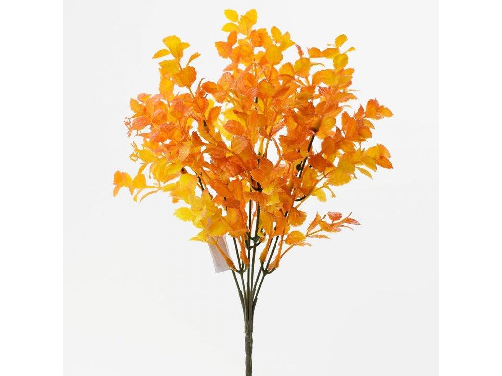 Zápich vetvička minilístky oranžové 26cm