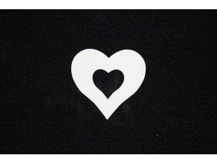 Drevená dekorácia biele srdce 5x5cm