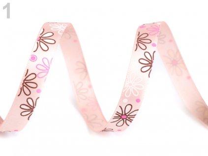 Saténová stuha kvety šírka 10 mm/1m