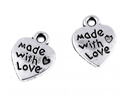 Prívesok srdce Made with love 10x12 mm