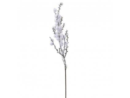 Konárik biele zasnežené bobuľky 45cm