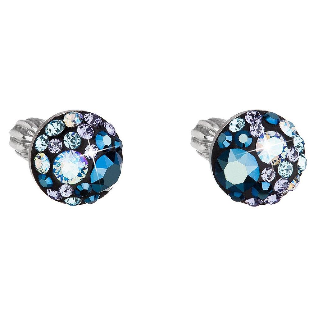 Strieborné guľaté náušnice so Swarovski crystals - Blue Style