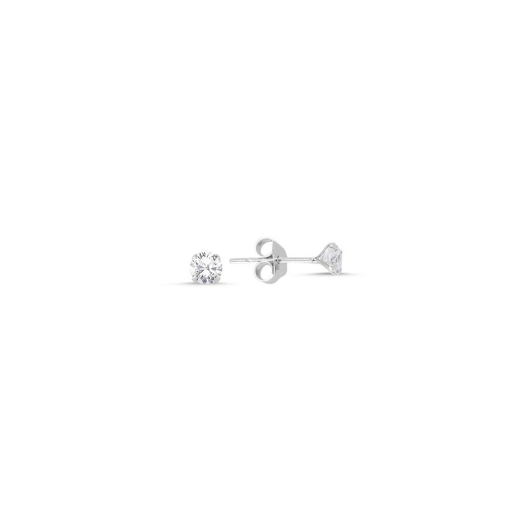 Strieborné náušnice s čírym zirkónom 4 mm
