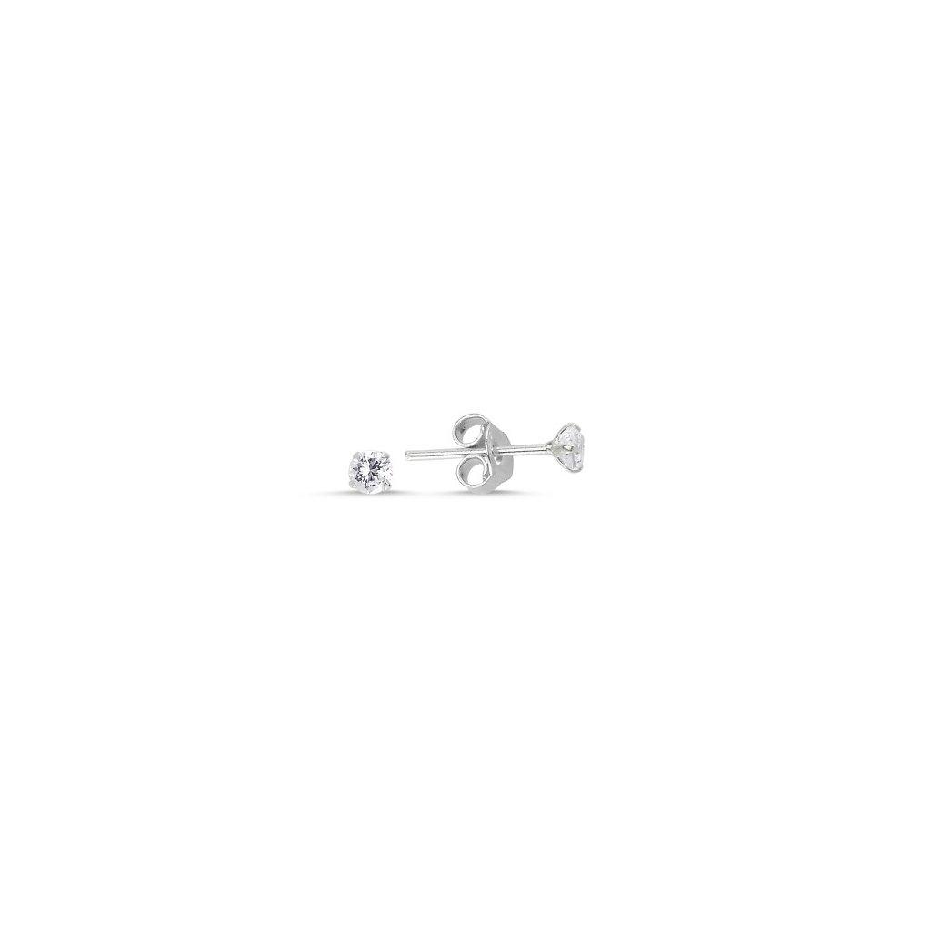 Strieborné náušnice s čírym zirkónom 3 mm