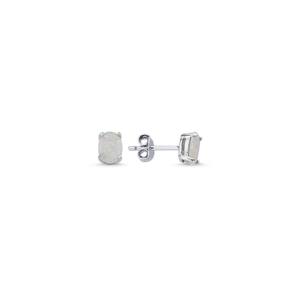 Strieborné náušnice s bielym oválnym opálom