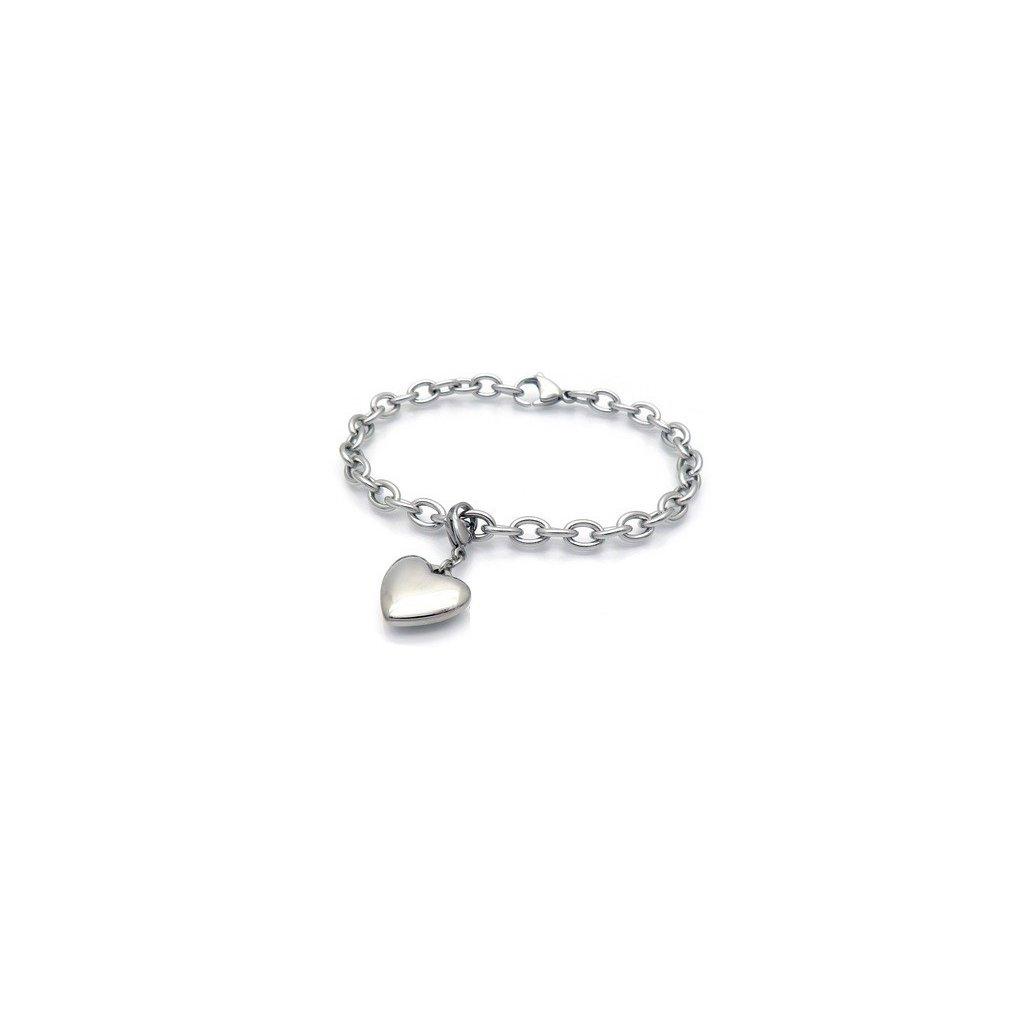 b660226b5 Dámsky náramok z chirurgickej ocele so srdiečkom - mŠperk.sk