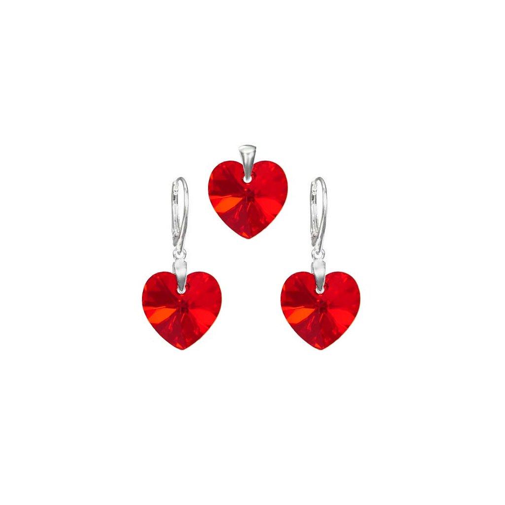 Exkluzívny set SWI crystal v tvare srdca červená farba 14 mm krištálik