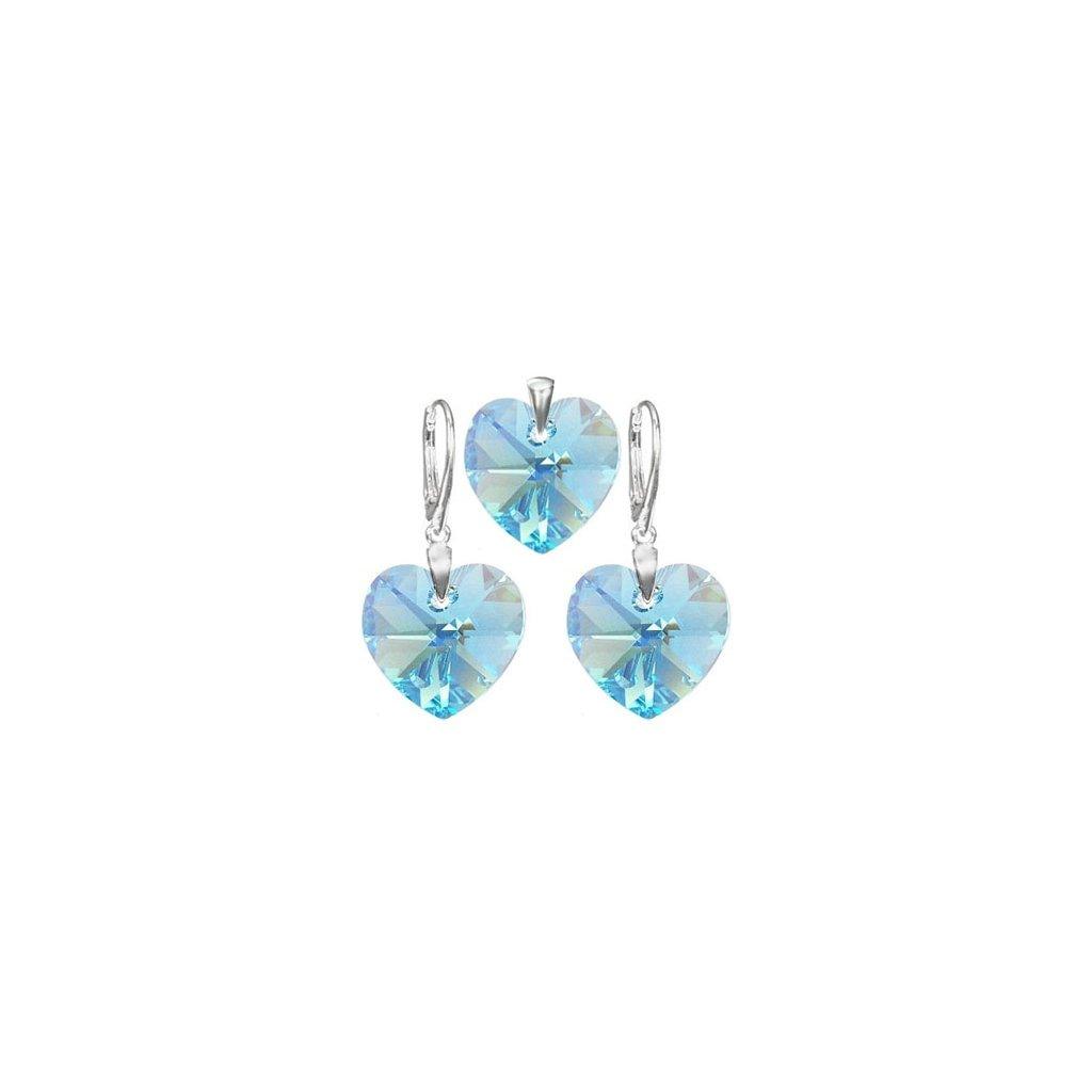 Exkluzívny set SWI crystal 18 mm v tvare srdca svetlo modrá farba