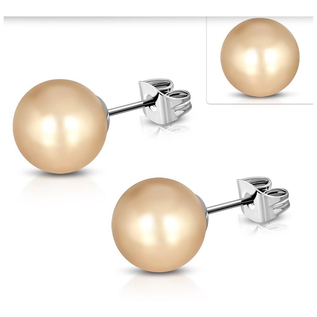 Náušnice perly telové