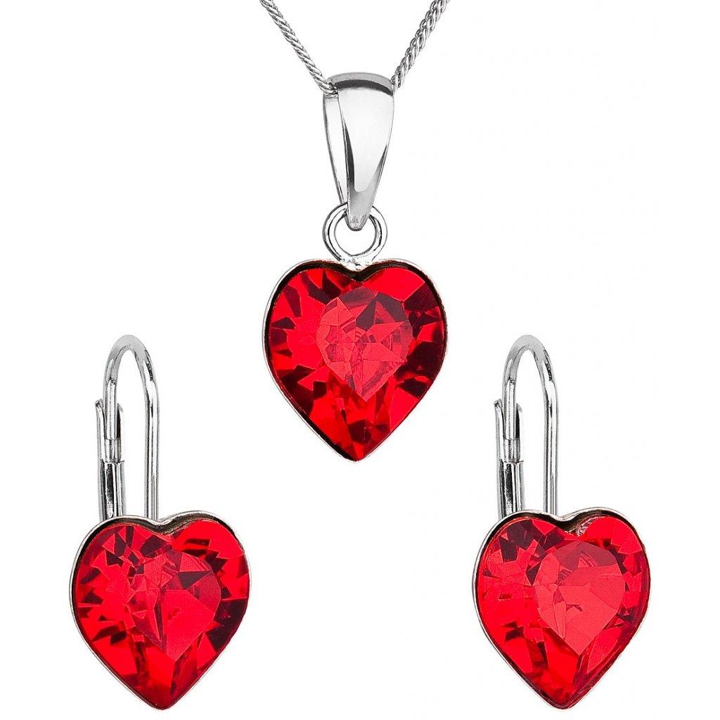 bf156eae7 Sada šperkov s krištáľmi Swarovski náušnice, retiazka a prívesok červené  srdce Ag 925, 2 g