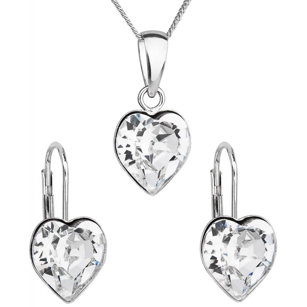 5cf85d53a Sada šperkov s krištáľmi Swarovski náušnice, retiazka a prívesok biele  srdce Ag 925, 2 g