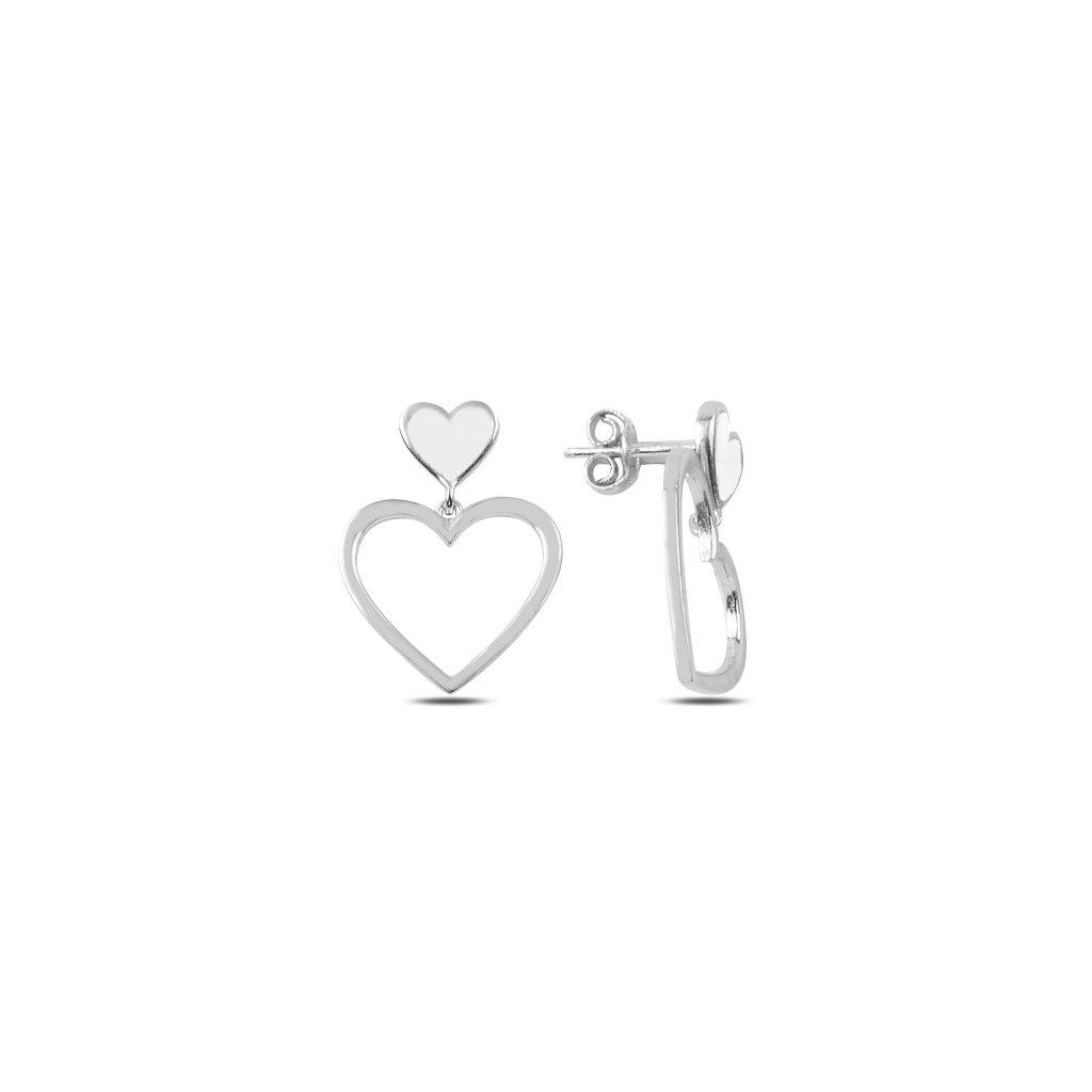 Strieborná náušnice biele srdce  Ag 925/1000 Rh: 2 g