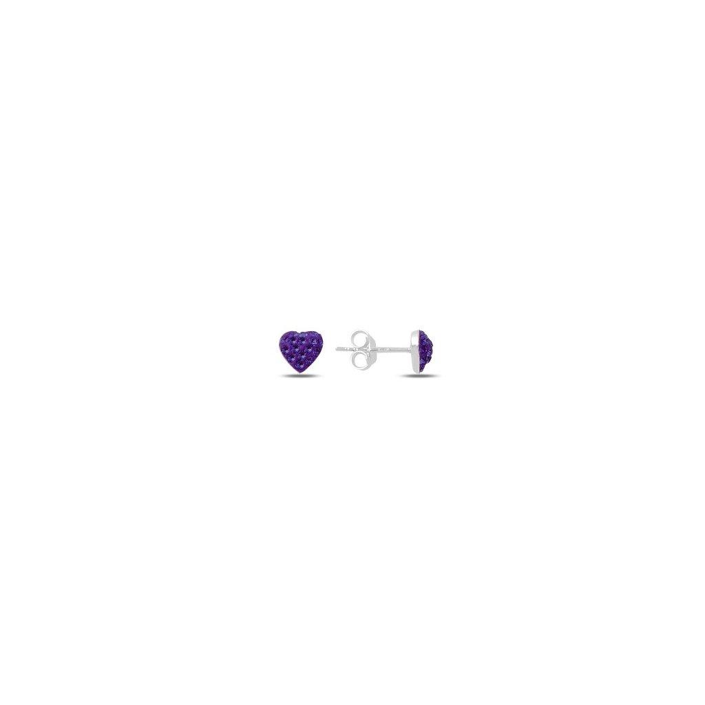 Strieborné náušnice fialové srdiečko so zirkónmi  Ag 925/1000 Rh: 0,5 g