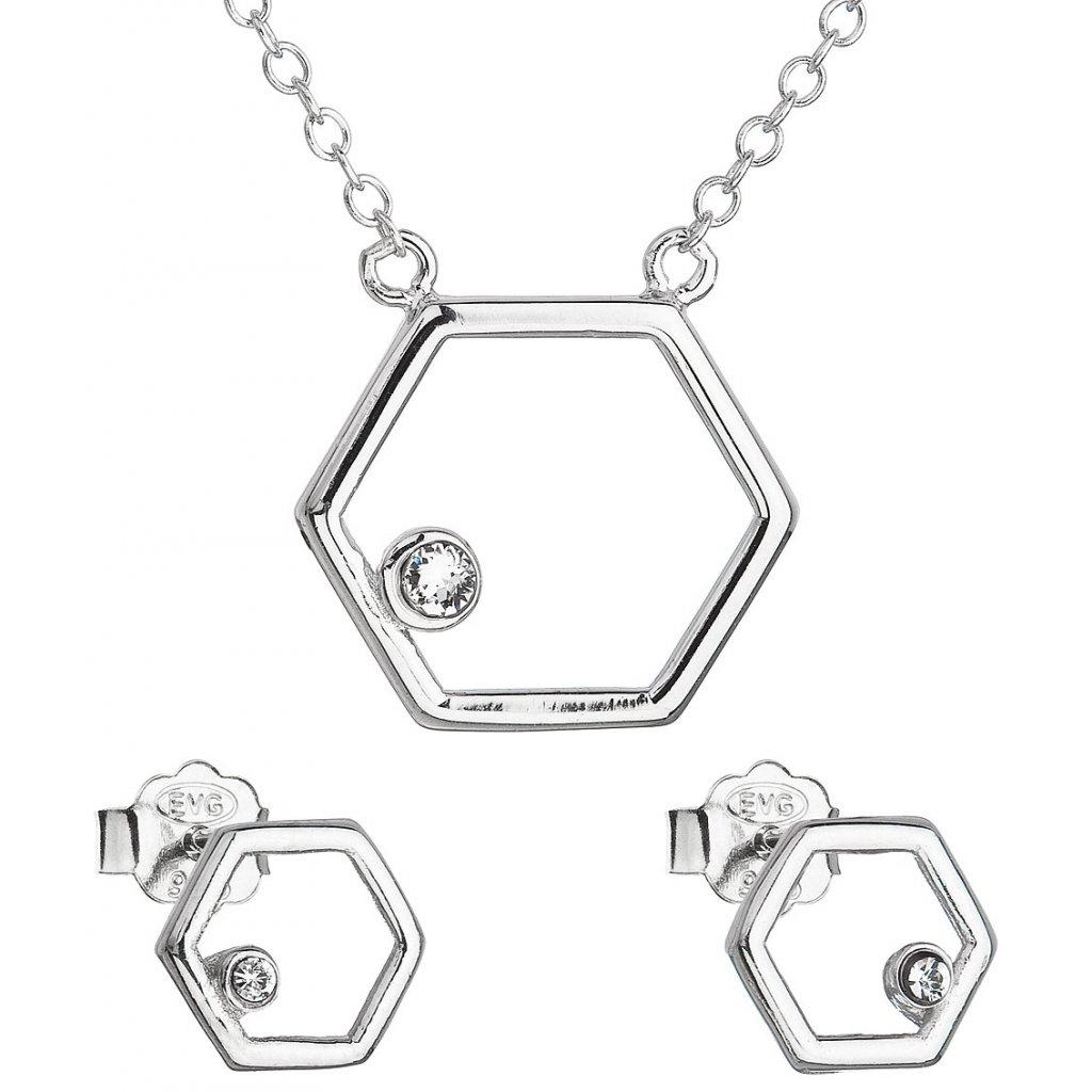 Sada šperkov s krištálmi Swarovski náušnice a náhrdelník biely hexagon