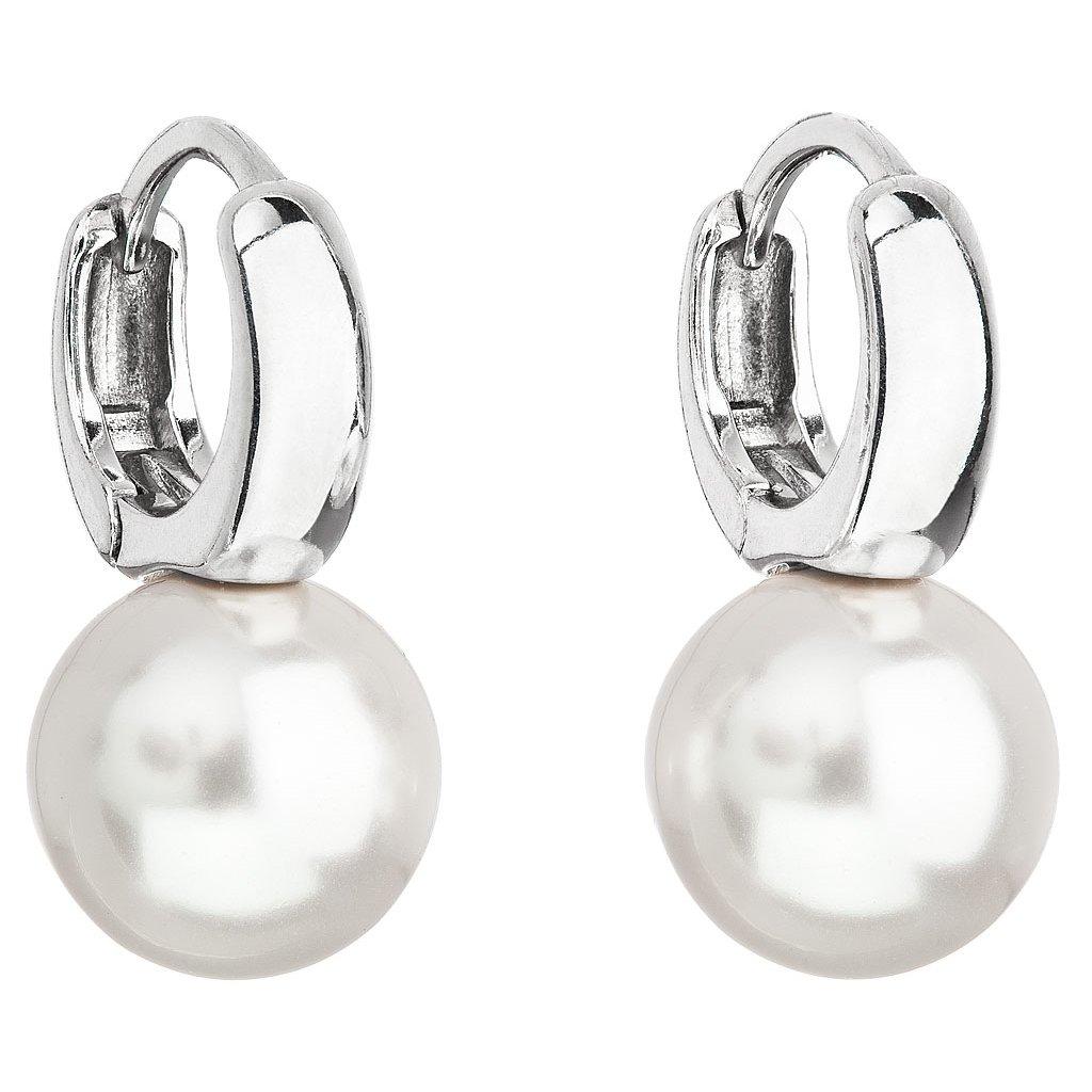 Strieborné náušnice visiace s perlou Swarovski biele okrúhle