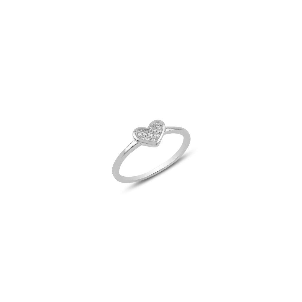 Strieborný dámsky prsteň vzor Srdce Love  Ag 925/1000 Rh: 1,32 g