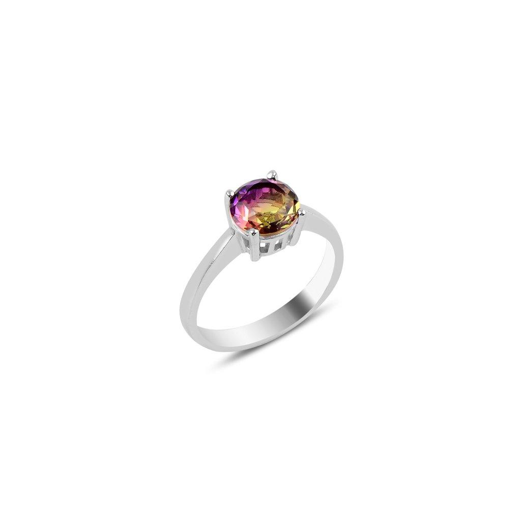 Strieborný dámsky prsteň s farebným zirkónom  Ag 925/1000 Rh: 2,85 g