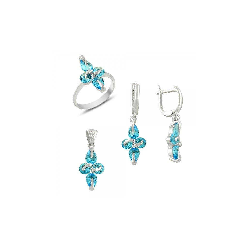Súprava šperkov s modrými zirkónmi